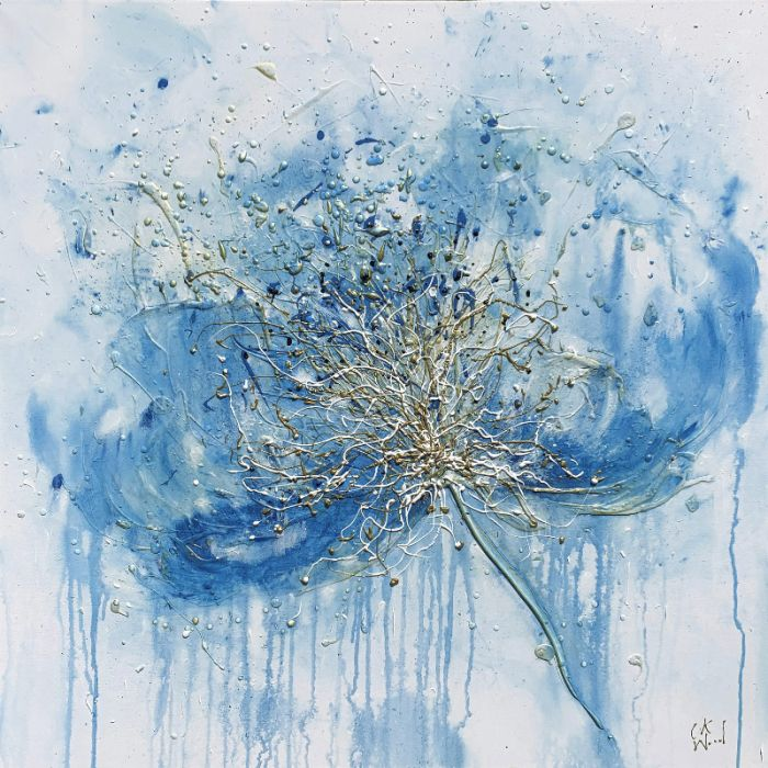 Blue Gold Flower 90 x 90cm
