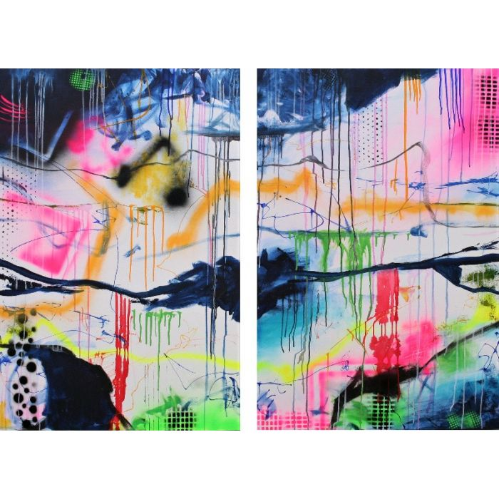 Huge Abstract Perfectly Imperfect Diptych 160 x 120 cm Two Abstract Paintings