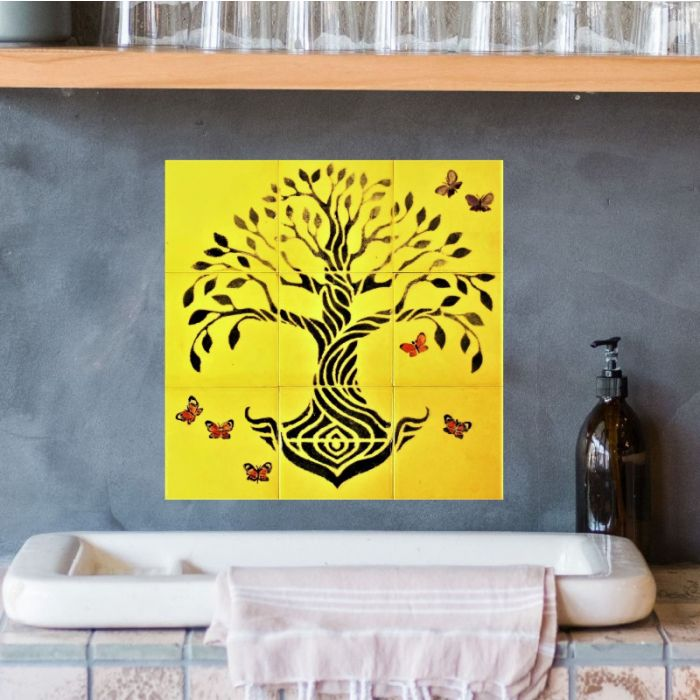 Ceramic Tile Mural hand painted Tree of Life