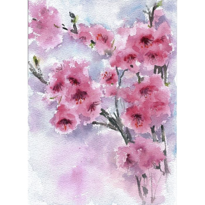 Cherry blossoms Spring Floral Burst watercolors on handmade paper