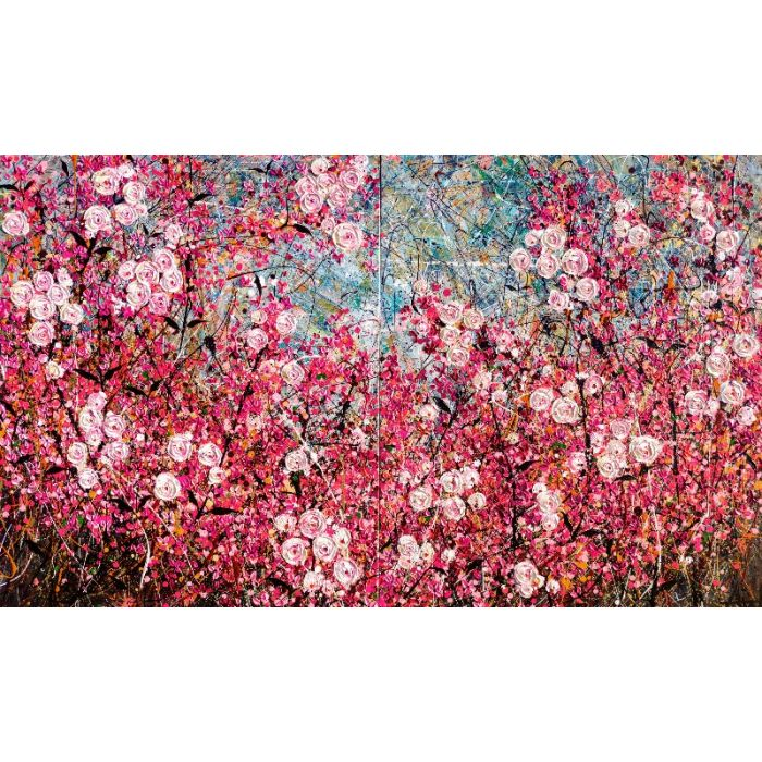 Cherry Tree Tops - Very large oil painting (Diptych)
