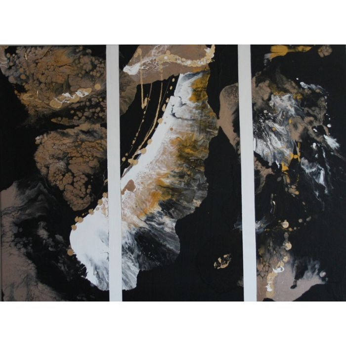 Triptych in 1. Using blacks, golds, whites to create a stunning piece of bespoke art.