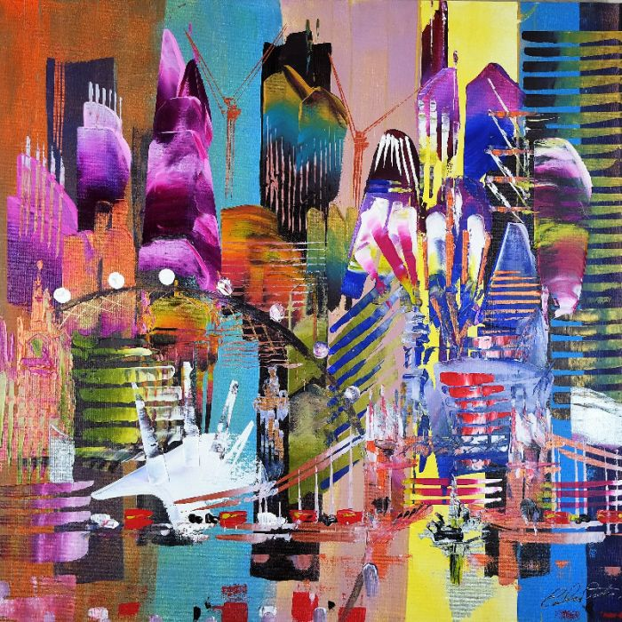 SALE City of London Skyline Abstract Painting 830