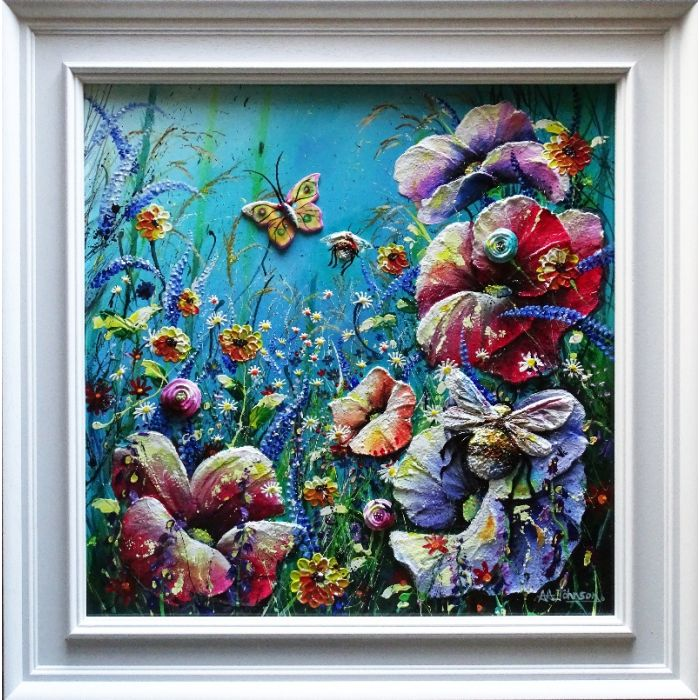 bumble bee sculpture art, poppies and wild flowers in this expensive and luxurious original artwork for the home.
