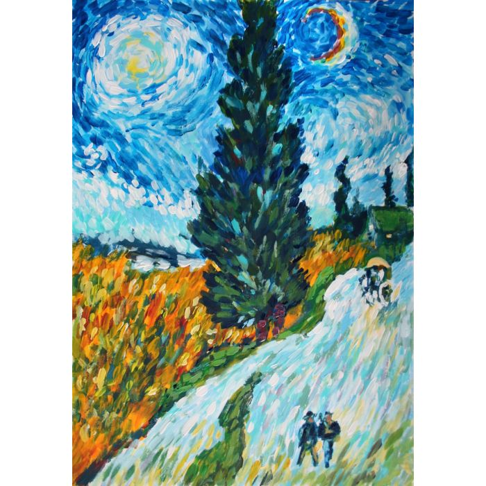 COUNTRY ROAD IN PROVENCE AT NIGHT... VAN GOGH. FREE COPY