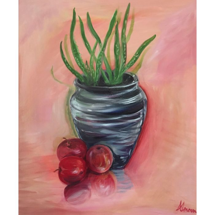 Aloe, vase and apples