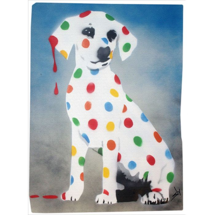 Damien's Dotty, Spotty, Puppy Dawg. (BLUE ON GORGEOUS WATERCOLOUR PAPER).