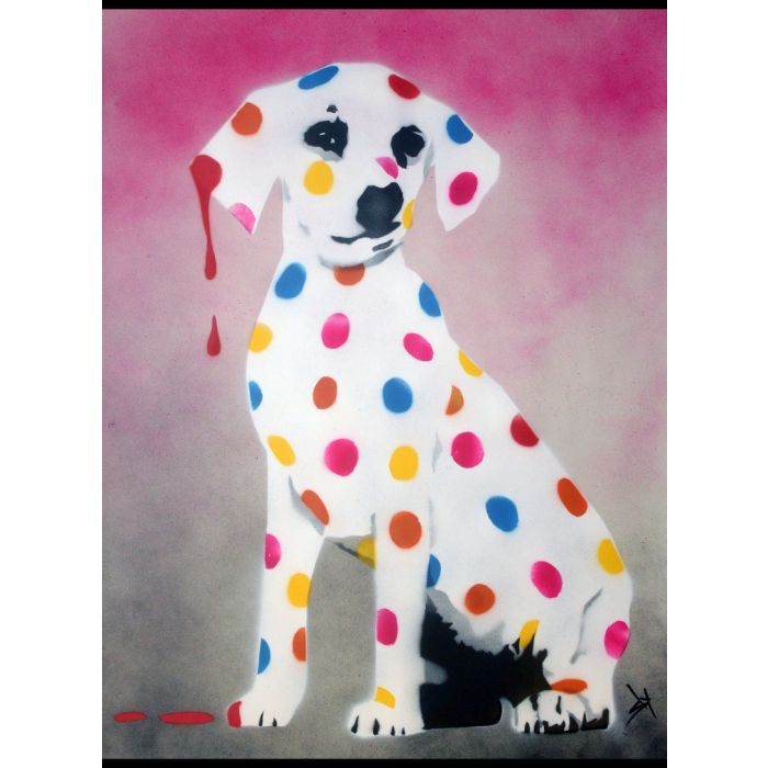 Damien's Dotty, Spotty, Puppy Dawg (Pink - On plain paper)+ Free Poem