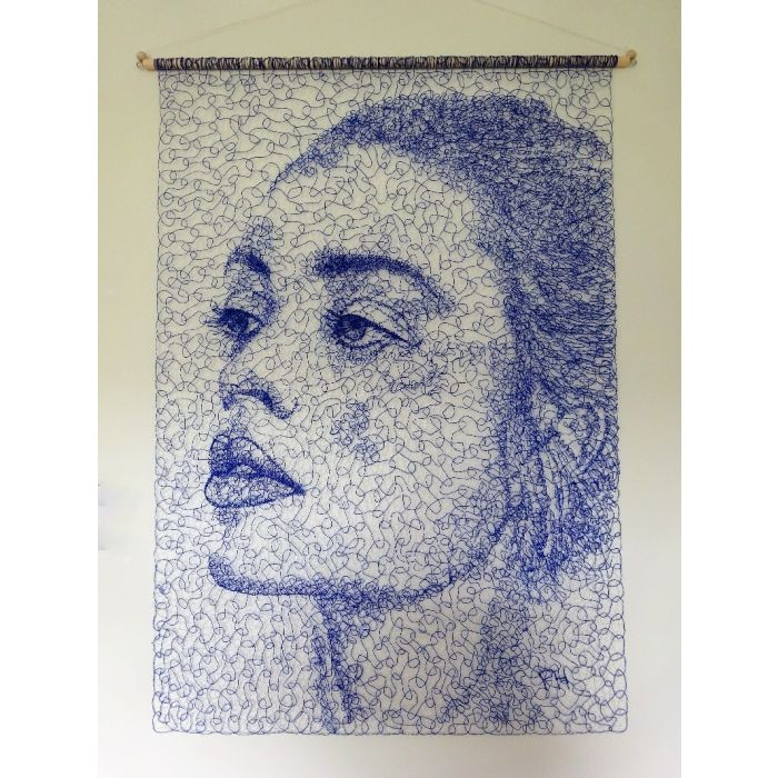 Elegant Blue Lace Face Wall Hanging