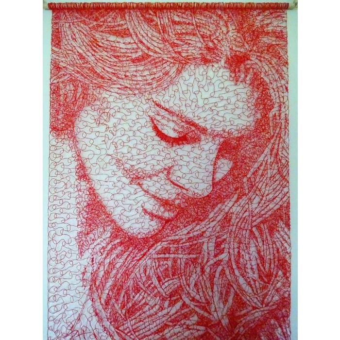Red Lace Face Wall Hanging