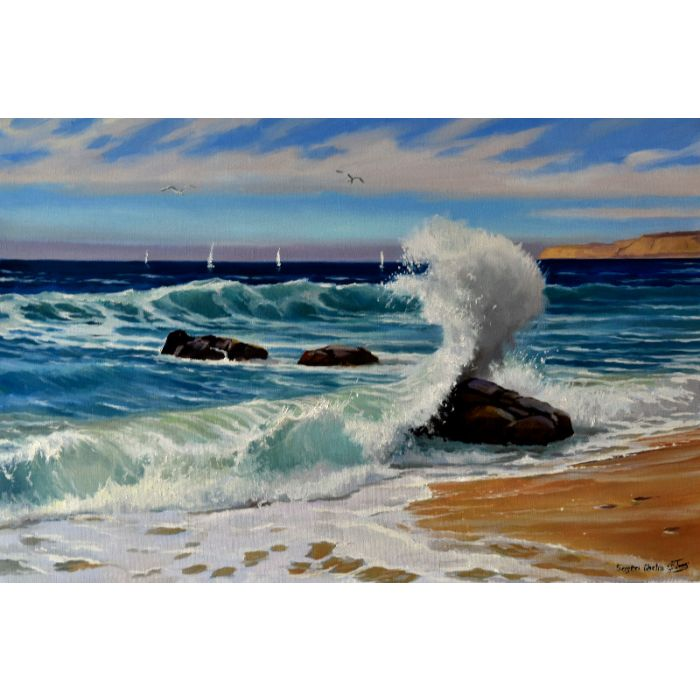 Sunny seascape with a big wave