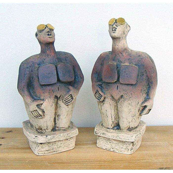 Pair of Stargazer Figures - Ceramic Sculptures