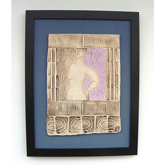 Terpsichore - Muse of Dance. (Framed Ceramic Panel) violet