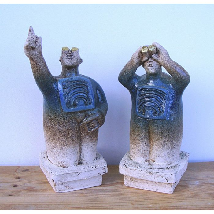 UFO Watchers - Ceramic Sculptures - (Pair) - Cornflower Blue