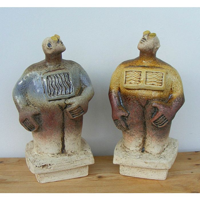 Pair of Stargazer Figures - Ceramic Sculptures - Lavender Blue and Straw