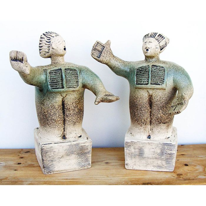 Opera Singers from Puccini's Tosca, Duet between Tosca and Scarpia - Ceramic Sculpture