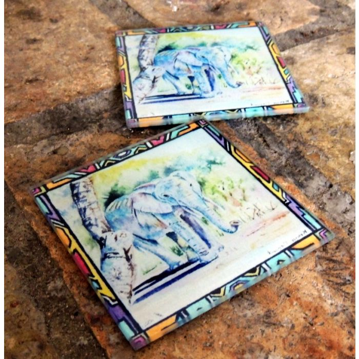 Elephant Glass Drinks Coasters |Original Artwork Drink Mats | Glass Home and Kitchen Ware