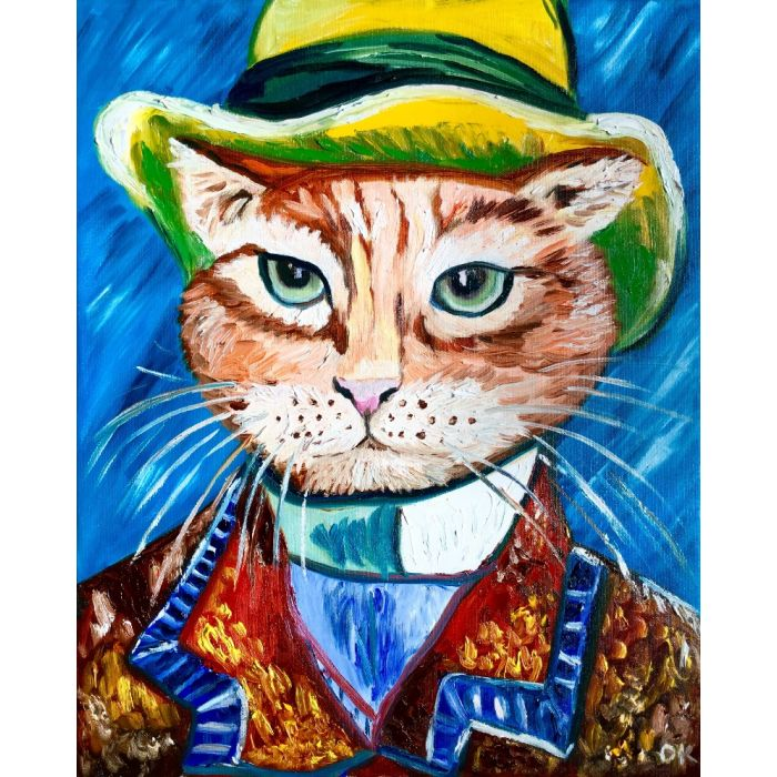 Serious cat in a hat inspired by Vincent Van Gogh