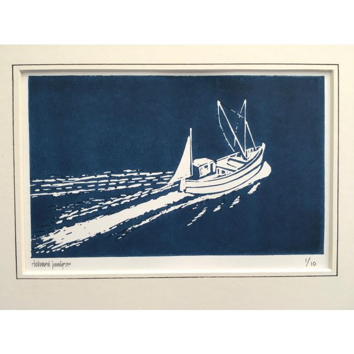 Fishing Boat. Original Limited Edition Linocut Print