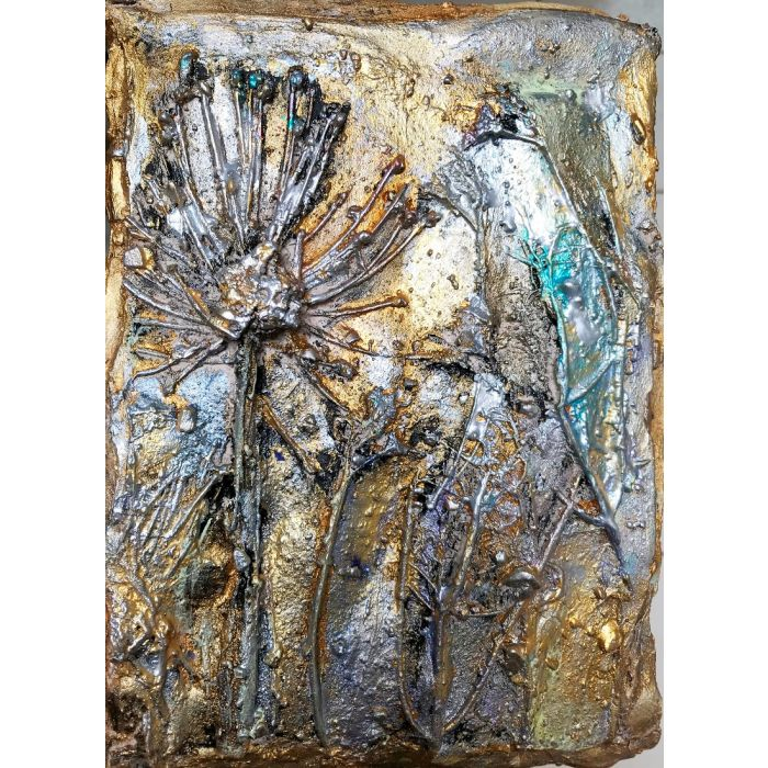 Sculpture Fossilized In Gold IV