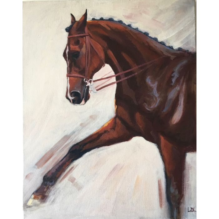 Bay Horse Spanish Walk Oil Painting