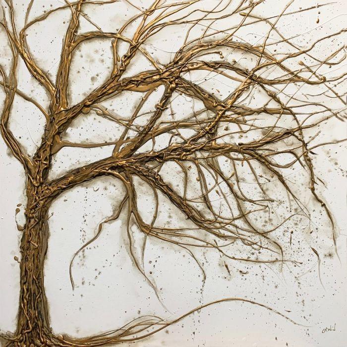Gold Antique Tree of Knowledge 90 x 90cm
