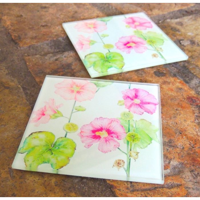 Glass Drink Coasters | Original Artwork Drink Mats | Hollyhock Flowers Glass Home and Kitchen Ware