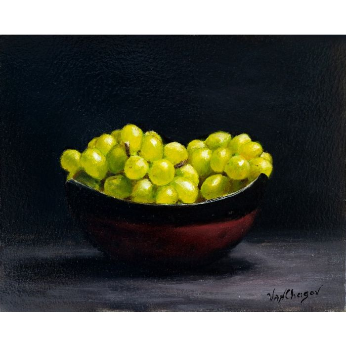 Green grapes oil painting