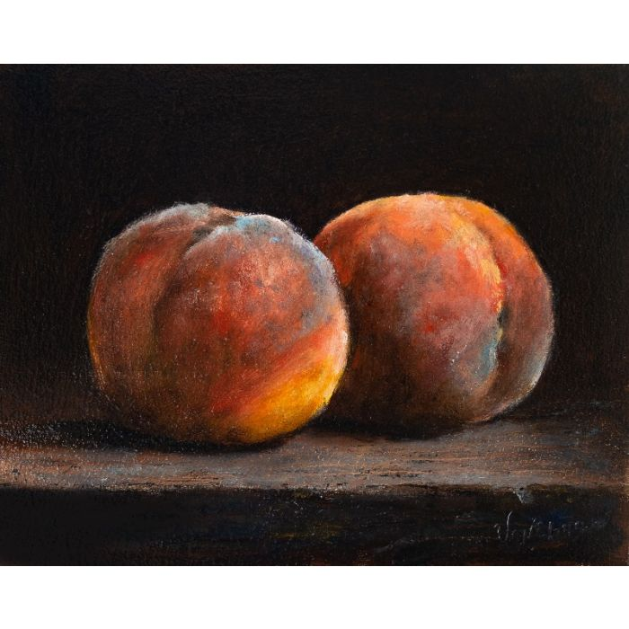 Two peaches still life