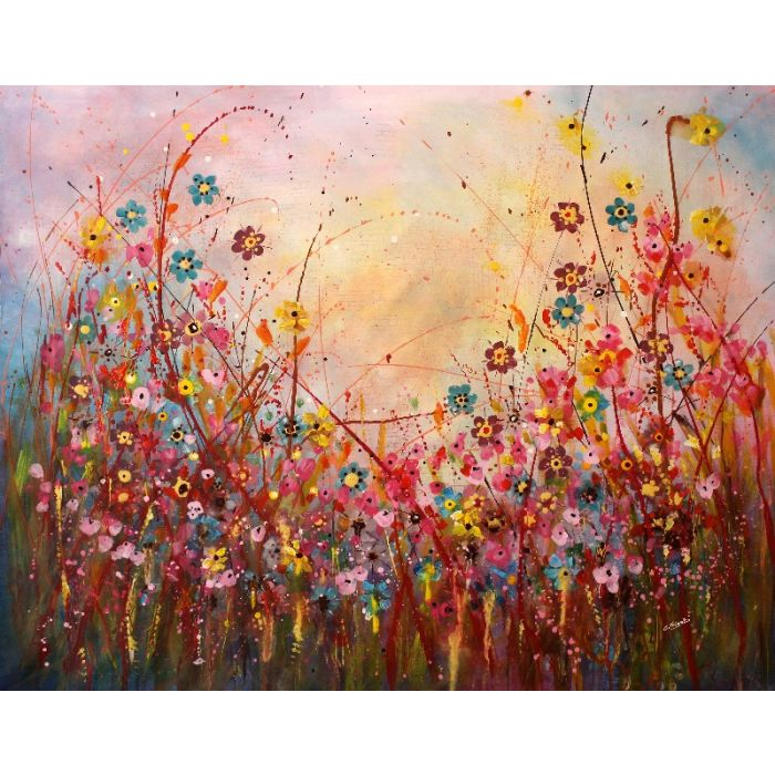 Andra' Tutto Bene #3 - Large original floral painting