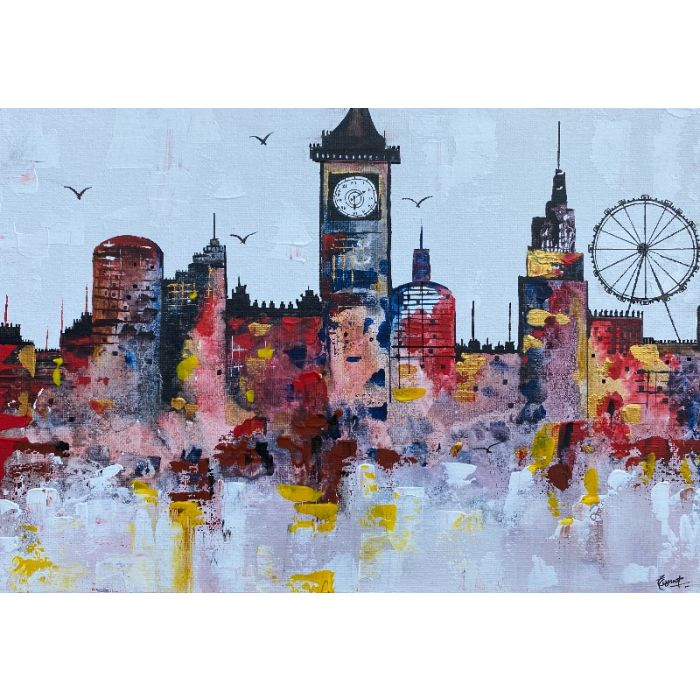 London night skyline abstract painting 214
