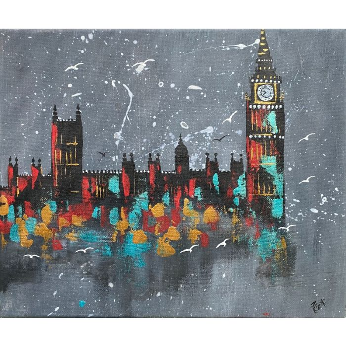 London Westminster Night Abstract