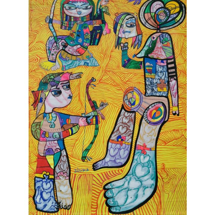 The target Large XXL pop naive painting beautiful childish style about love and humanity by master L DIMISCA