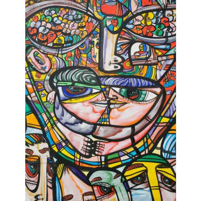 Large XXL pop naive painting beautiful childish style Heartfelt looks by master L DIMISCA