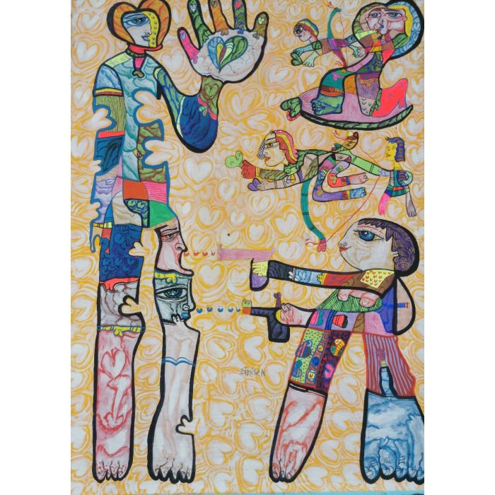 Large XXL pop naive painting beautiful childish style about love and humanity Shot me with hearts by master L DIMISCA