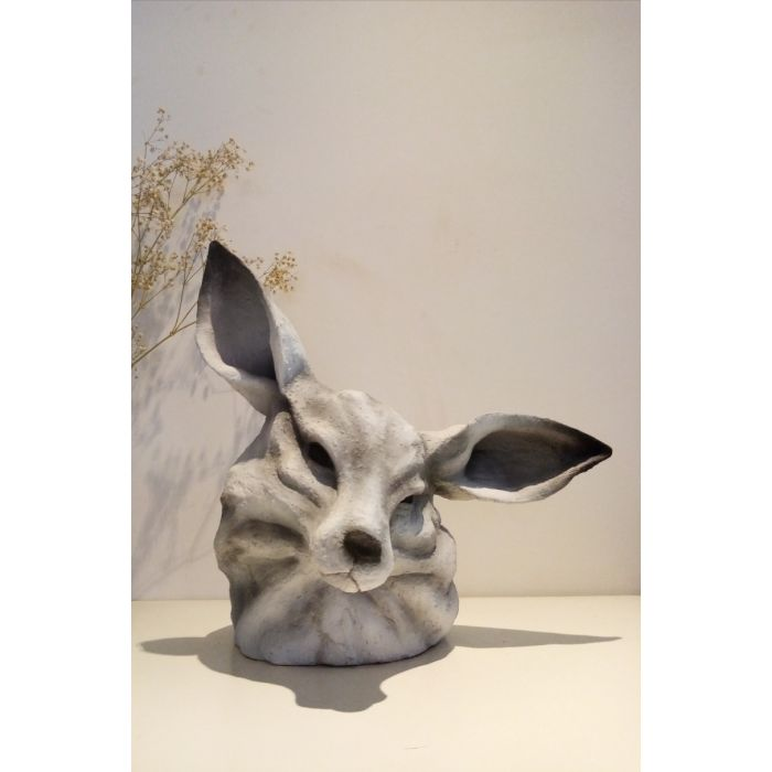The Fox and Hare amalgamation. Ceramic sculpture