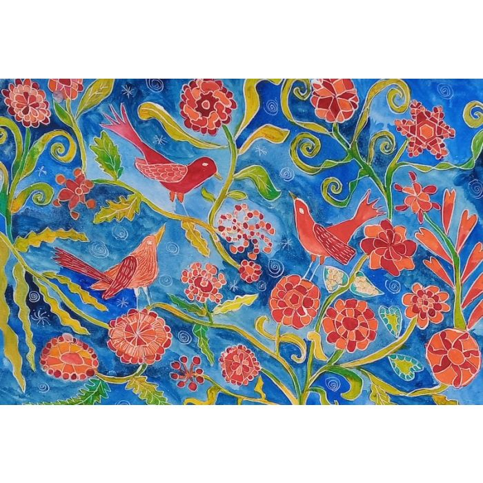 Red Birds on Doodle Flowers