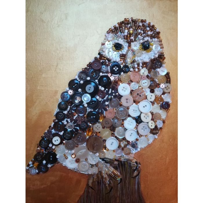 Little Owl mosaic collage painting artwork in brown and gold.