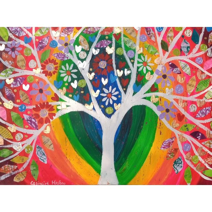 Jewelled White Tree in a rainbow Sky
