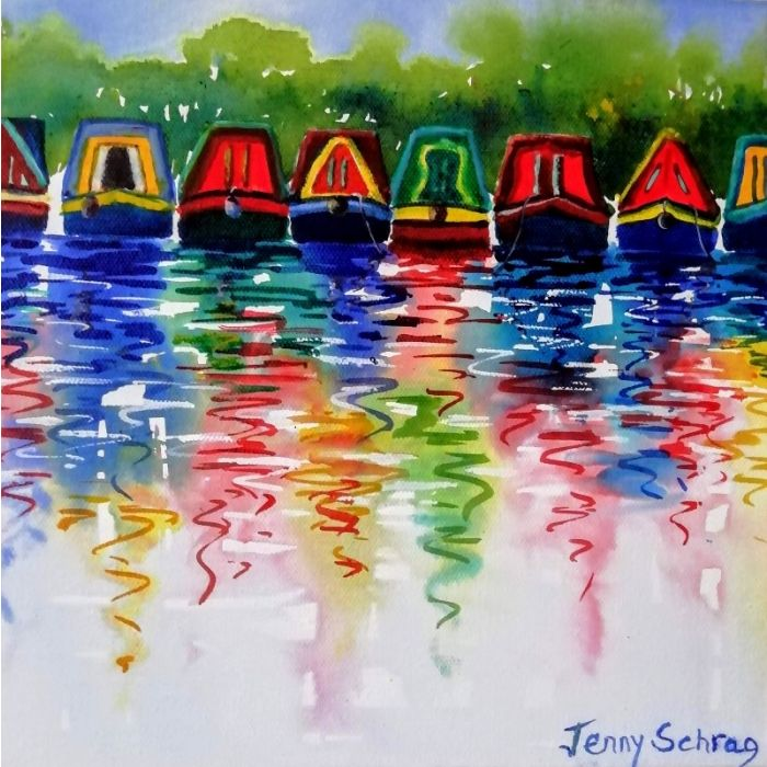 Canal boats and reflections (2)