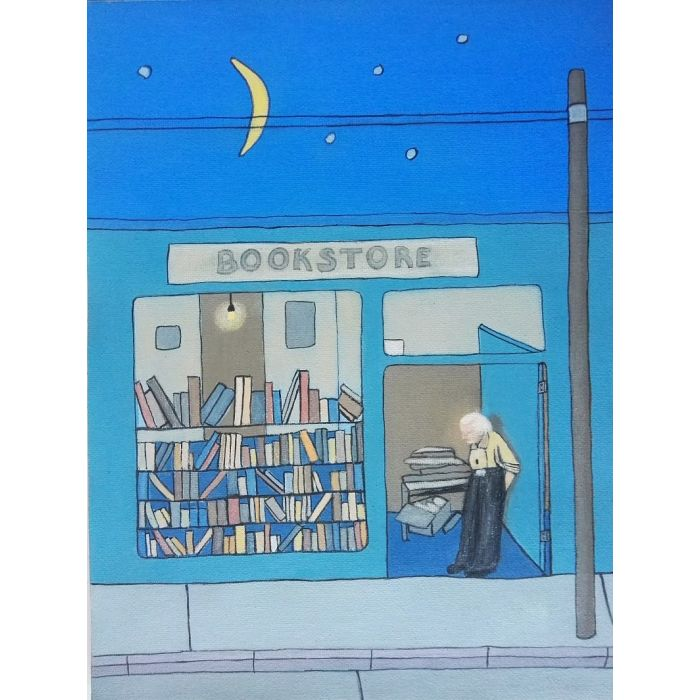 Old corner bookstore - the magic is in the moon