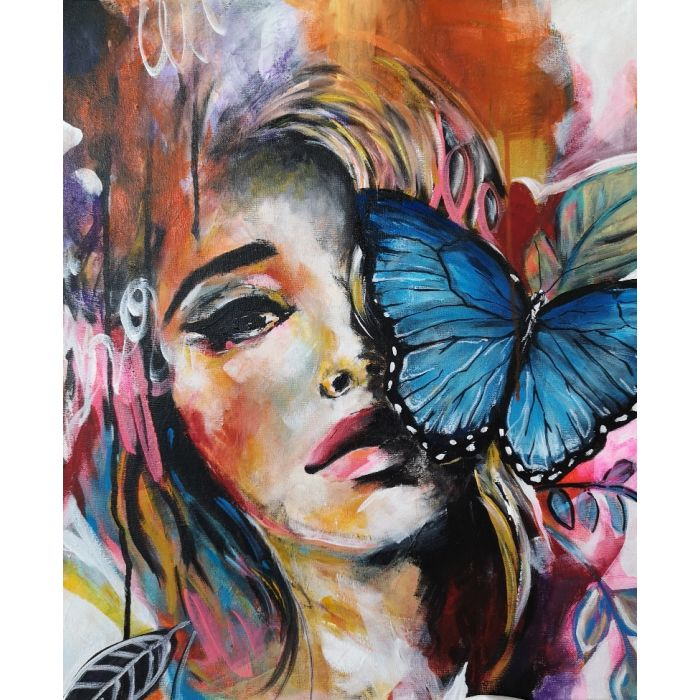 Face art girl and the butterfly