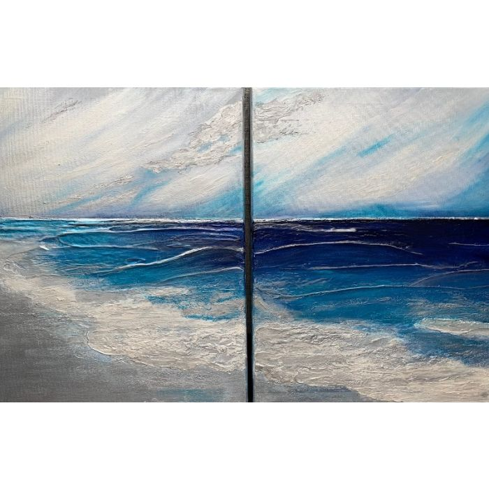 Champagne Shores - Seascape abstract - ready to hang