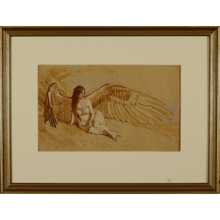 'Reclining Angel Study With Outstretched Wings