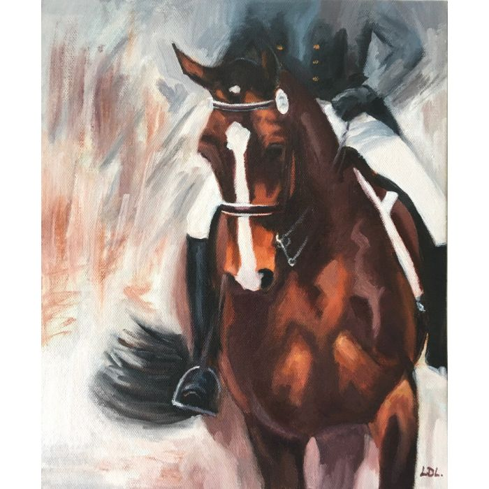 Dressage horse oil painting