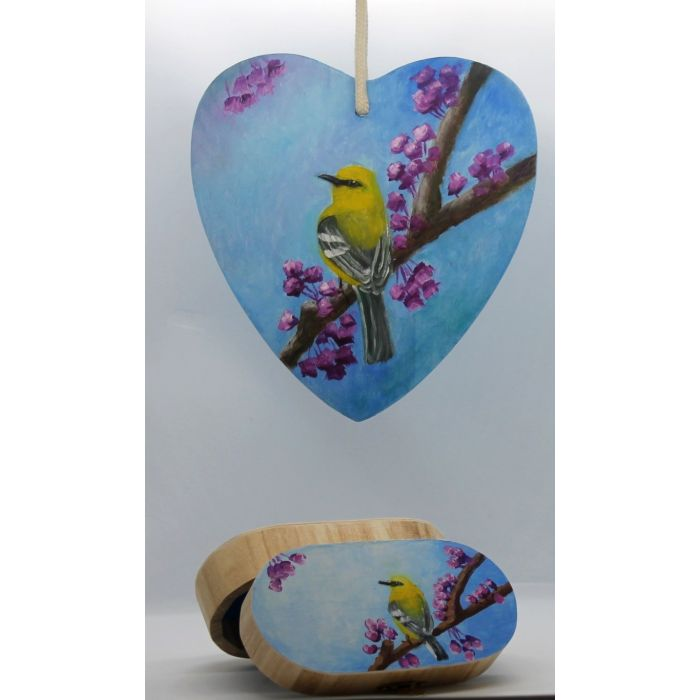 Blue set with yellow bird.. Hand painted box and plywood heart.