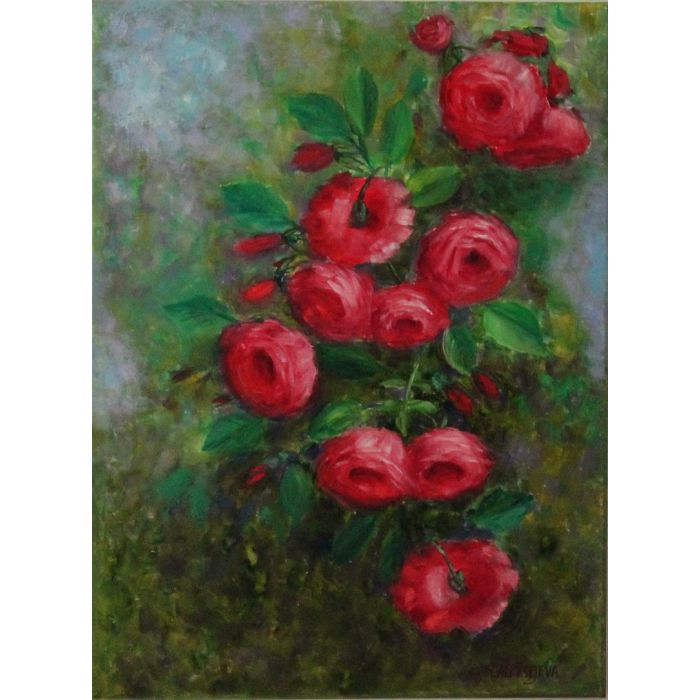 Roses.Original oil painting on canvas.