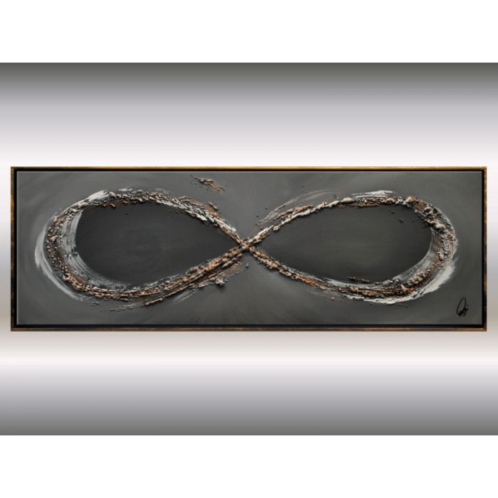 Infinity in Gold- Abstract acrylic painting, structured canvas wall art, framed painting