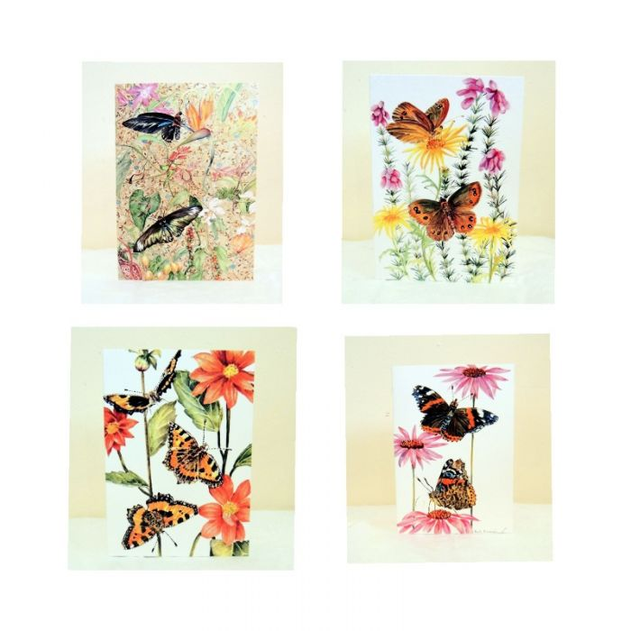 Four Botanical Butterfly & Flower Greeting Cards / Notelets