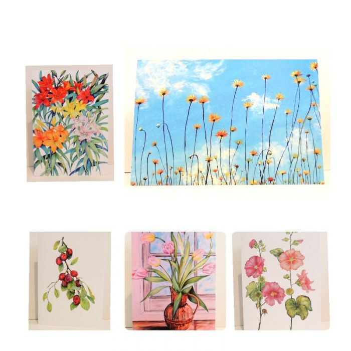 Five Mixed Flower Greeting Cards